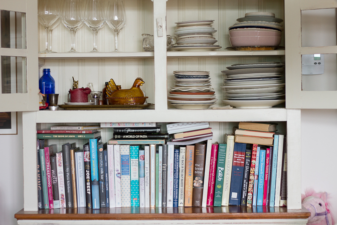 Kelly's cookbooks and dishes