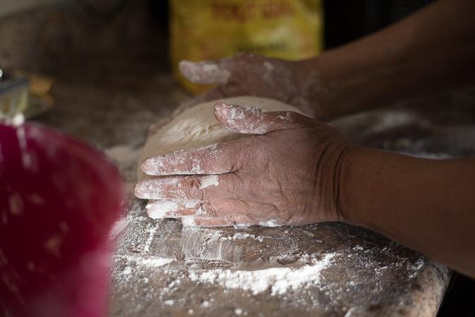 Marilyn shaping dough