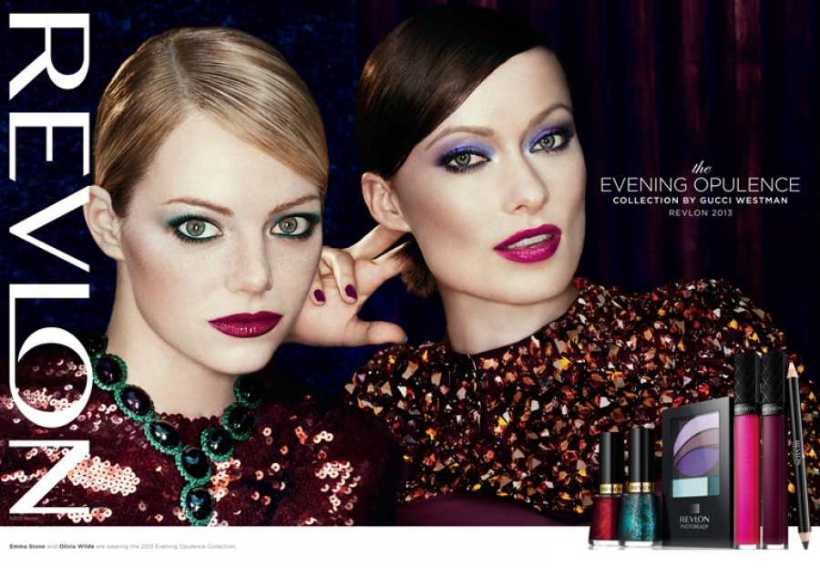 Emma Stone and Olivia Wilde in Revlon's Fall/Winter 2013 Evening Opulence Collection
