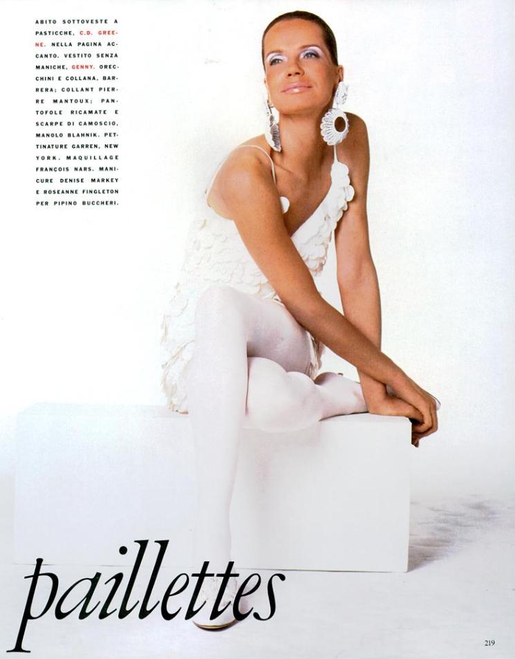 90's Vogue Italia: Veruschka von Lehndorff in the first paillette dress CD Greene ever made! Photo by Steven Meisel.