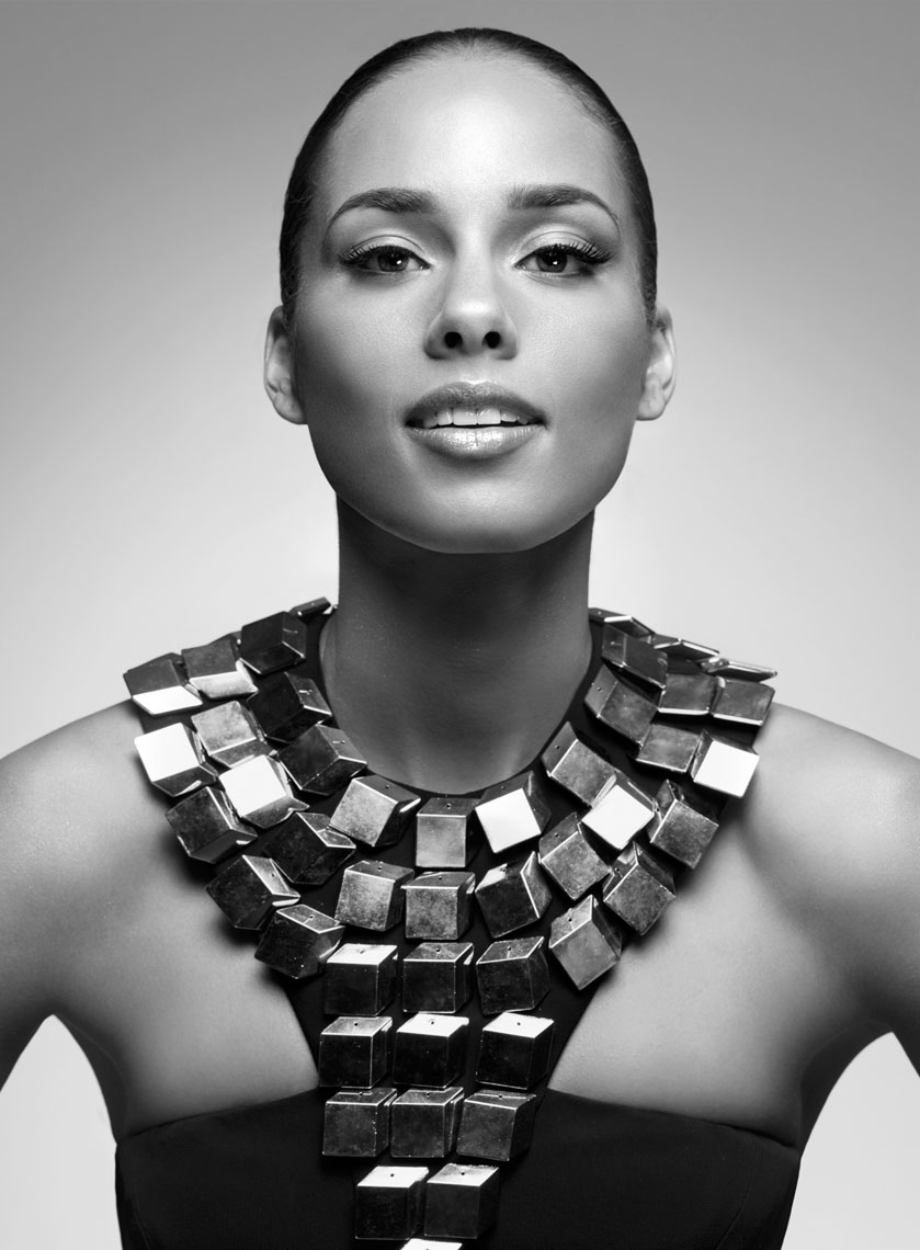 Alicia Keys looking stunning in CD Greene, styled by June Ambrose, hair by Tippi Shorter, makeup by Ashunta Sherriff, photo by Daniela Federici.