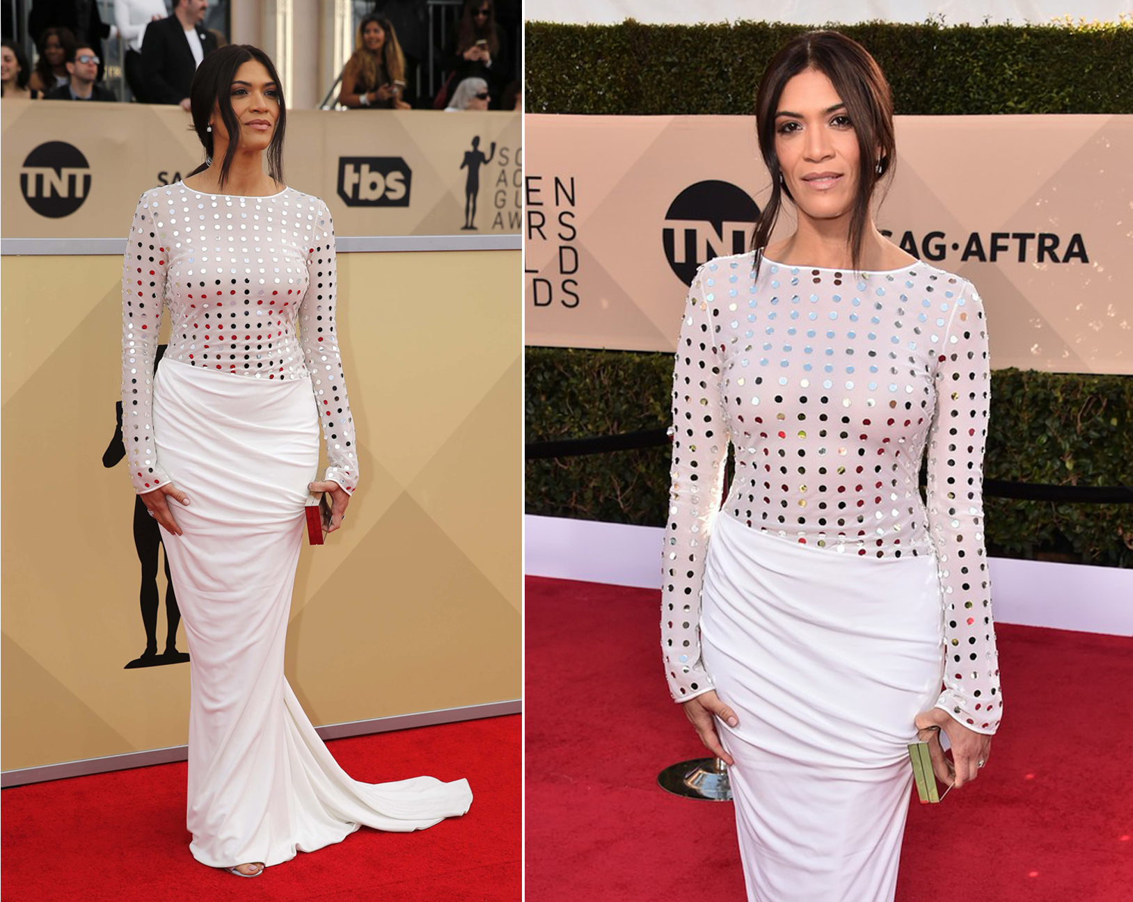 The beautiful Laura Gomez looking fabulous at the Sag Awards wearing CD Greene gown and bag,