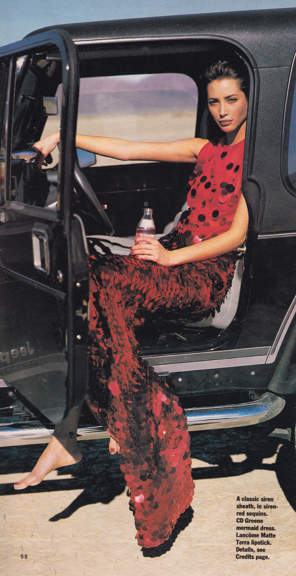 "Christy Turlington ""Red Hot"" in CD Greene paillette gown by Sante D'Orazio"