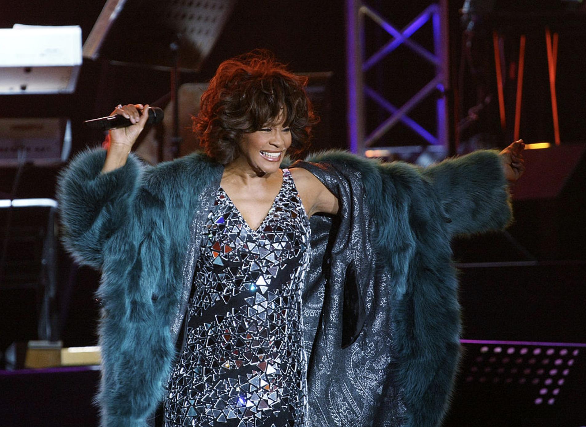 Remembering Whitney Houston in CD Greene mirror dress
