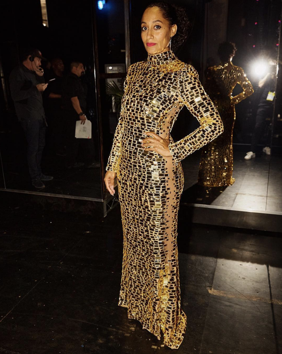 Golden Girl Tracee Ellis Ross hosting the 2018American Music Awards in a Gold Mirror and Crystal gown ✨ Styled byKarla Welch