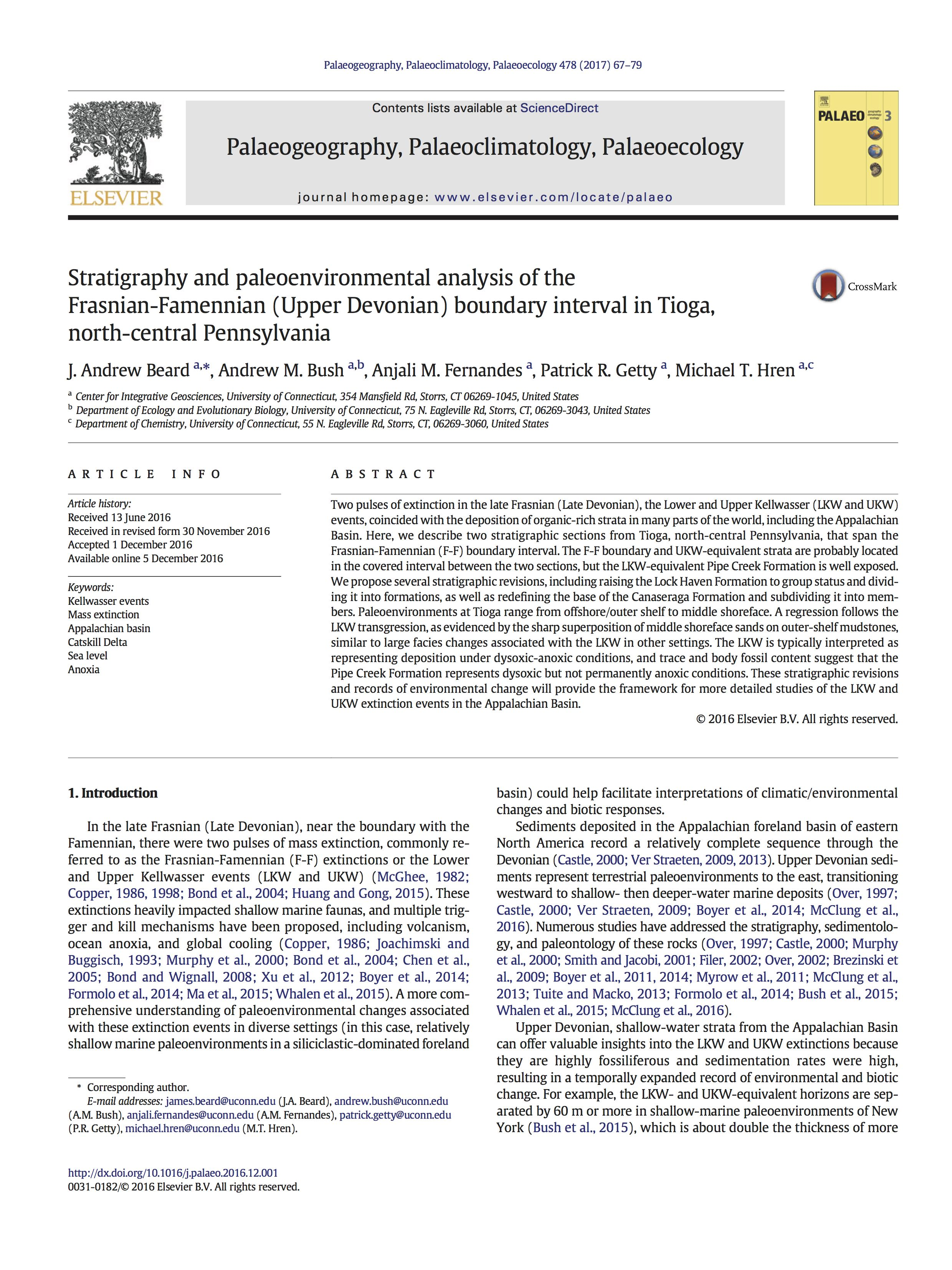 For full text, use the following URL:https://www.researchgate.net/publication/309285190_Stratigraphy_and_paleoenvironmental_analysis_of_the_Frasnian-Famennian_Upper_Devonian_boundary_interval_in_Tioga_north-central_Pennsylvania