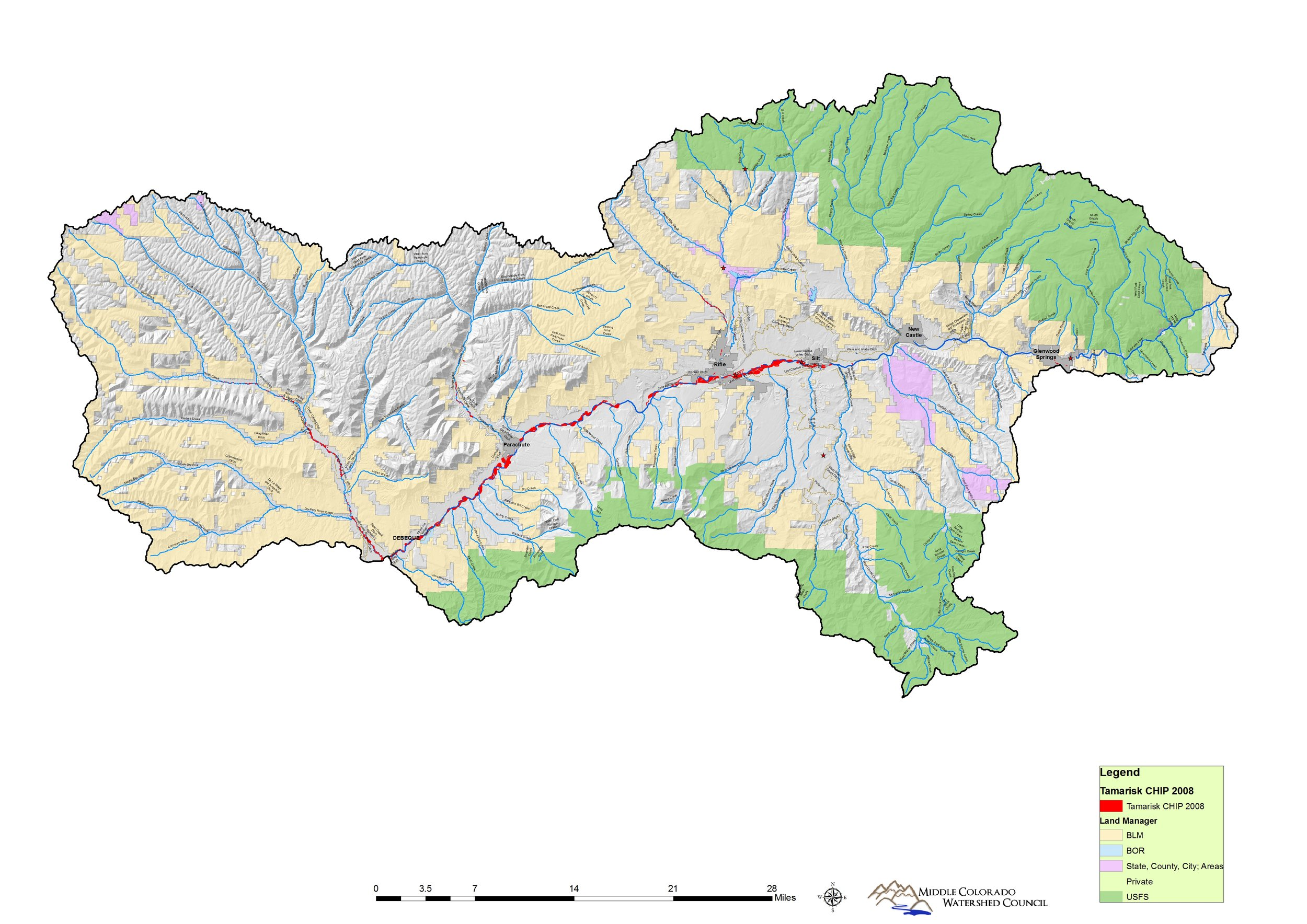 Land ownership throughout our watershed, from DeBeque to Glenwood Springs.