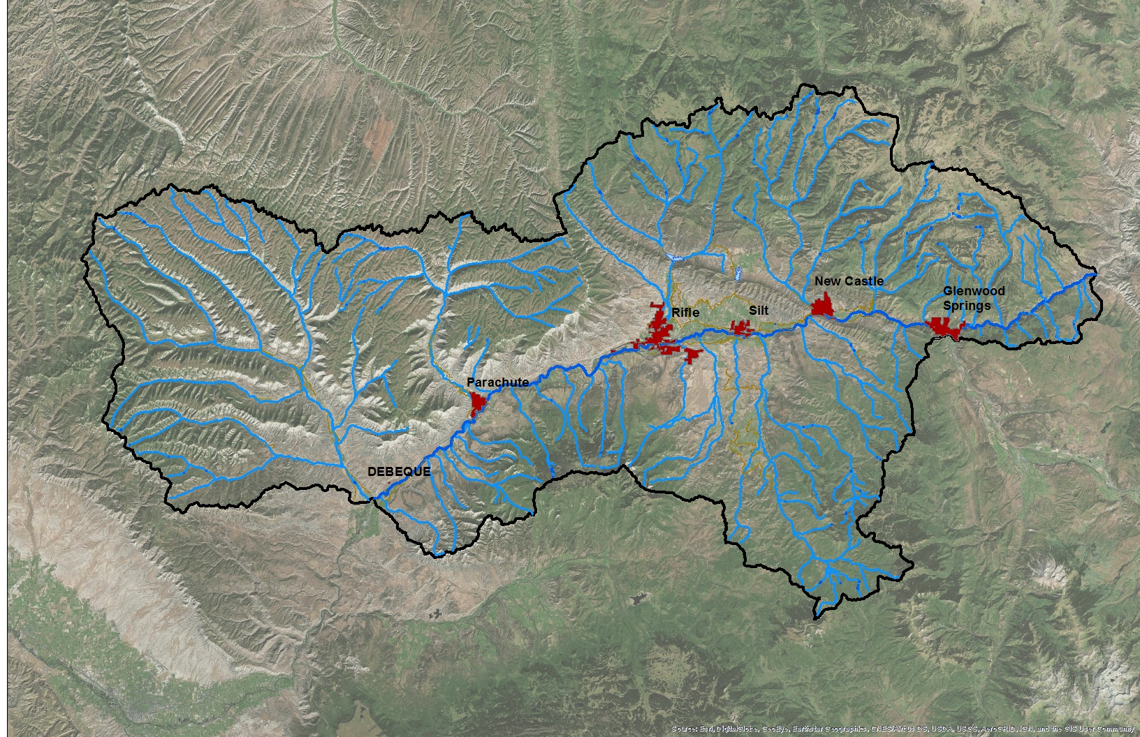 The Middle Colorado River Watershed includes all the tributaries that flow into the mainstem of the Colorado River from the top of Glenwood Canyon to DeBeque. Thinking on a watershed scale brings together water managers, land managers, industry leaders, and municipalities that rely on water.