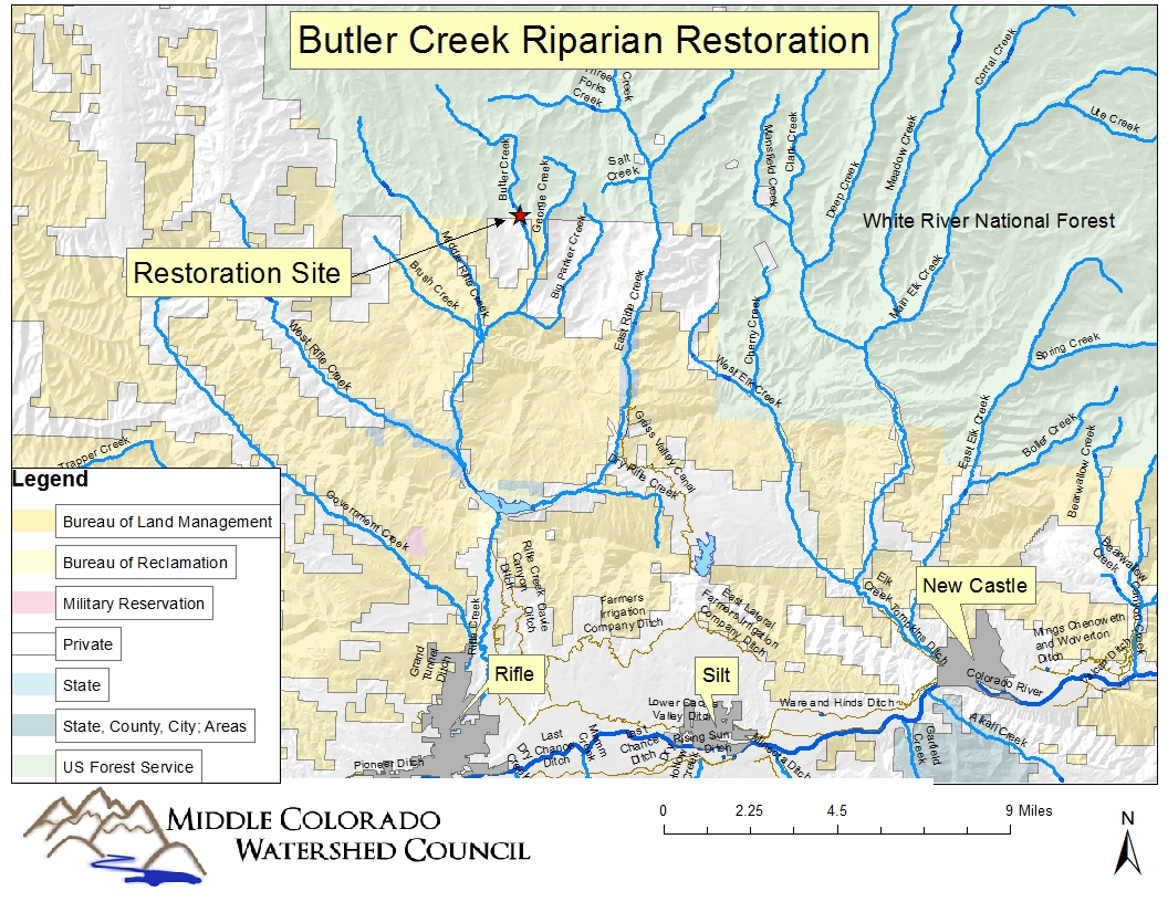 A map of the location of Butler Creek