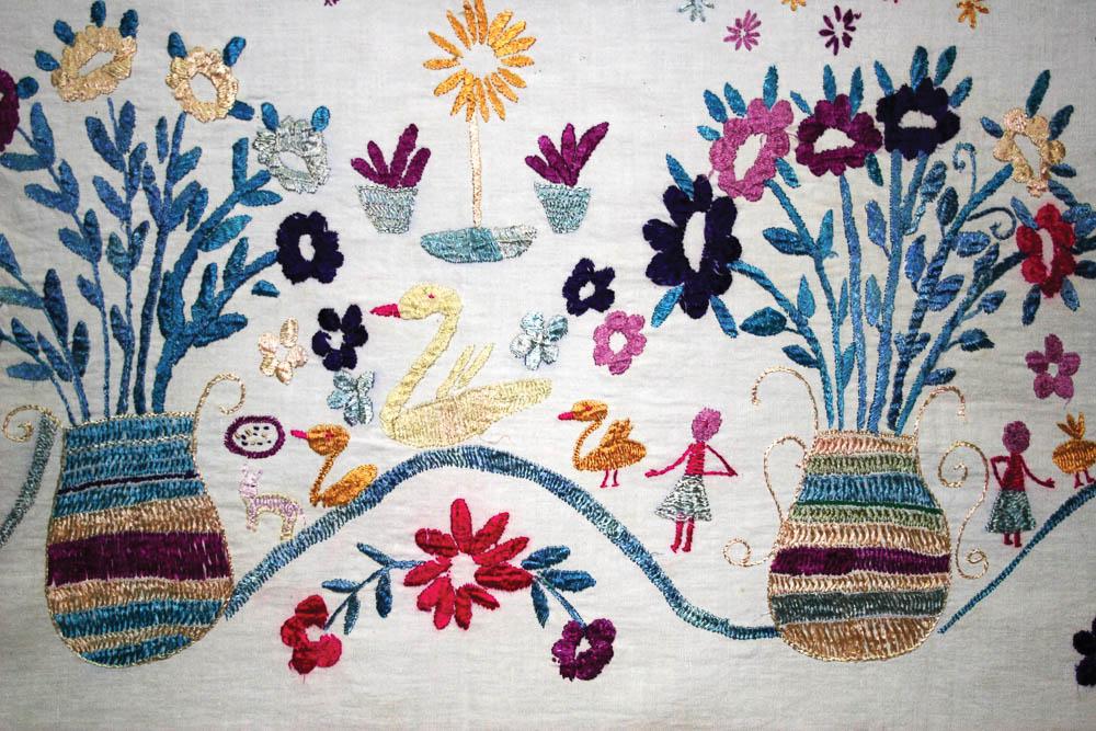 Detalle de mantel ceremonial San Pedro Sacatepéquez San Marcos MI-03737 ©Archivo Fotográfico Museo Ixchel del Traje Indígena Fotógrafo. Anne Girard