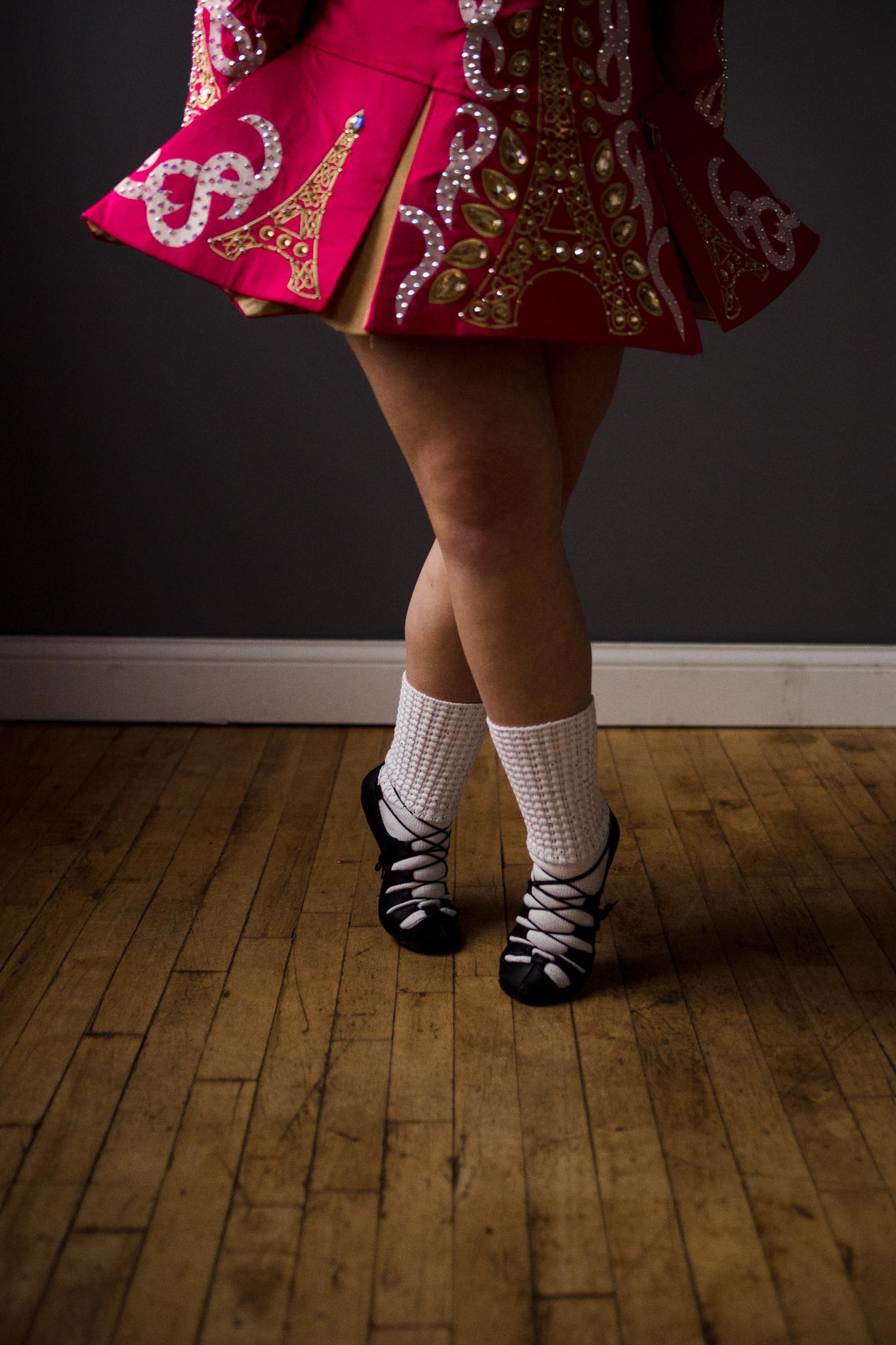 dark pink Irish Dance dress with white socks and black shoes - Wayzata Lifestyle Family Photographer