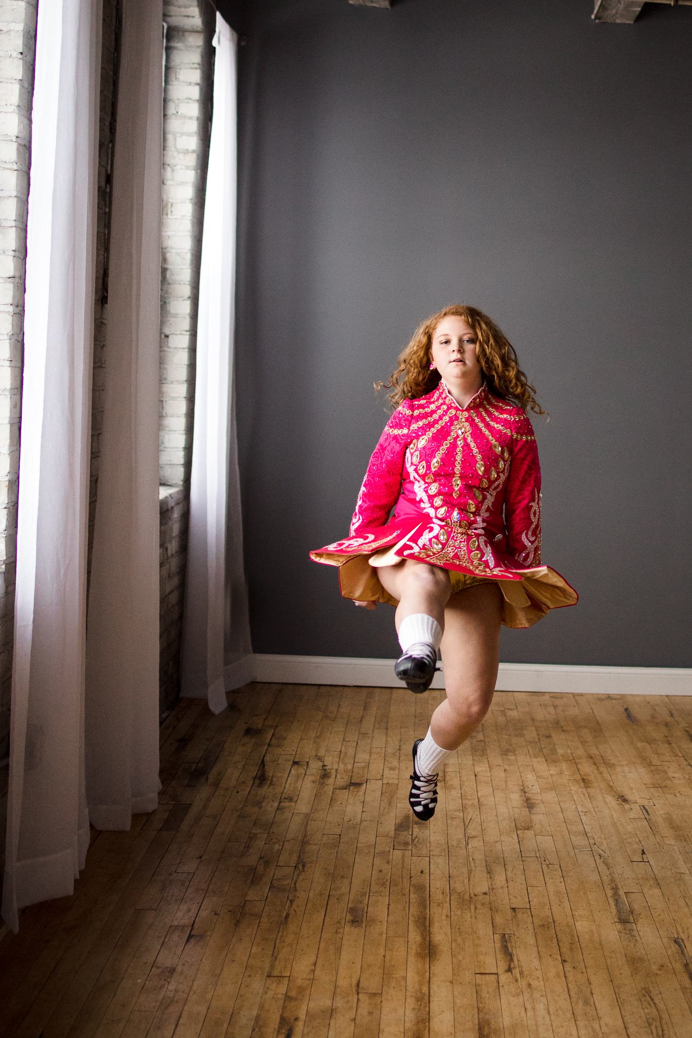 dark pink Irish Dance dress with white socks and black shoes - Orono Lifestyle Family Photographer