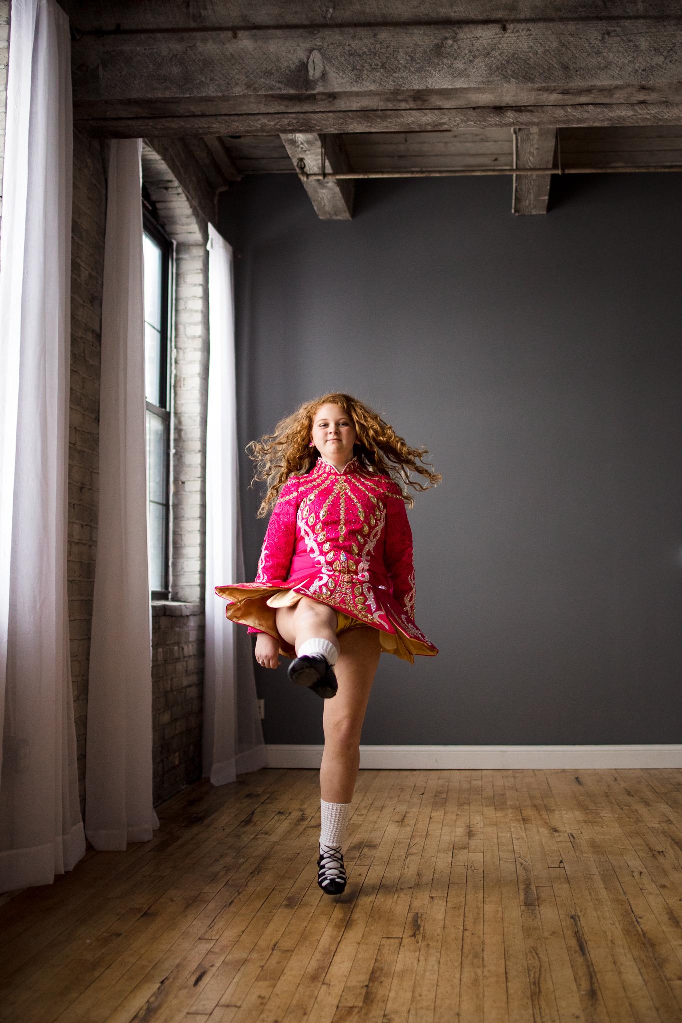dark pink Irish Dance dress with white socks and black shoes - Wayzata Artistic Family Photographer