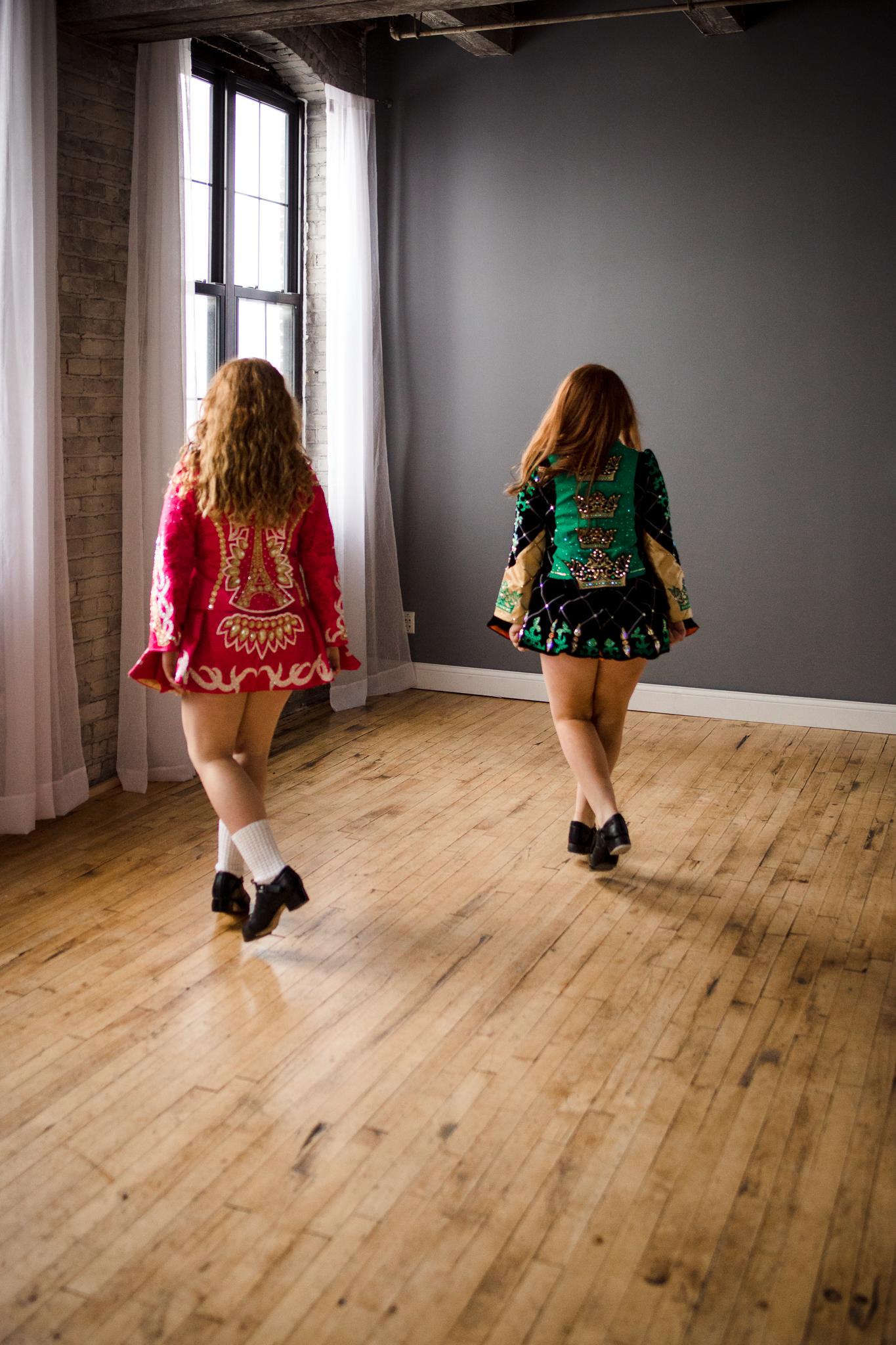 Twin Girls with red hair Irish Dancing  - Minneapolis Family Photographer