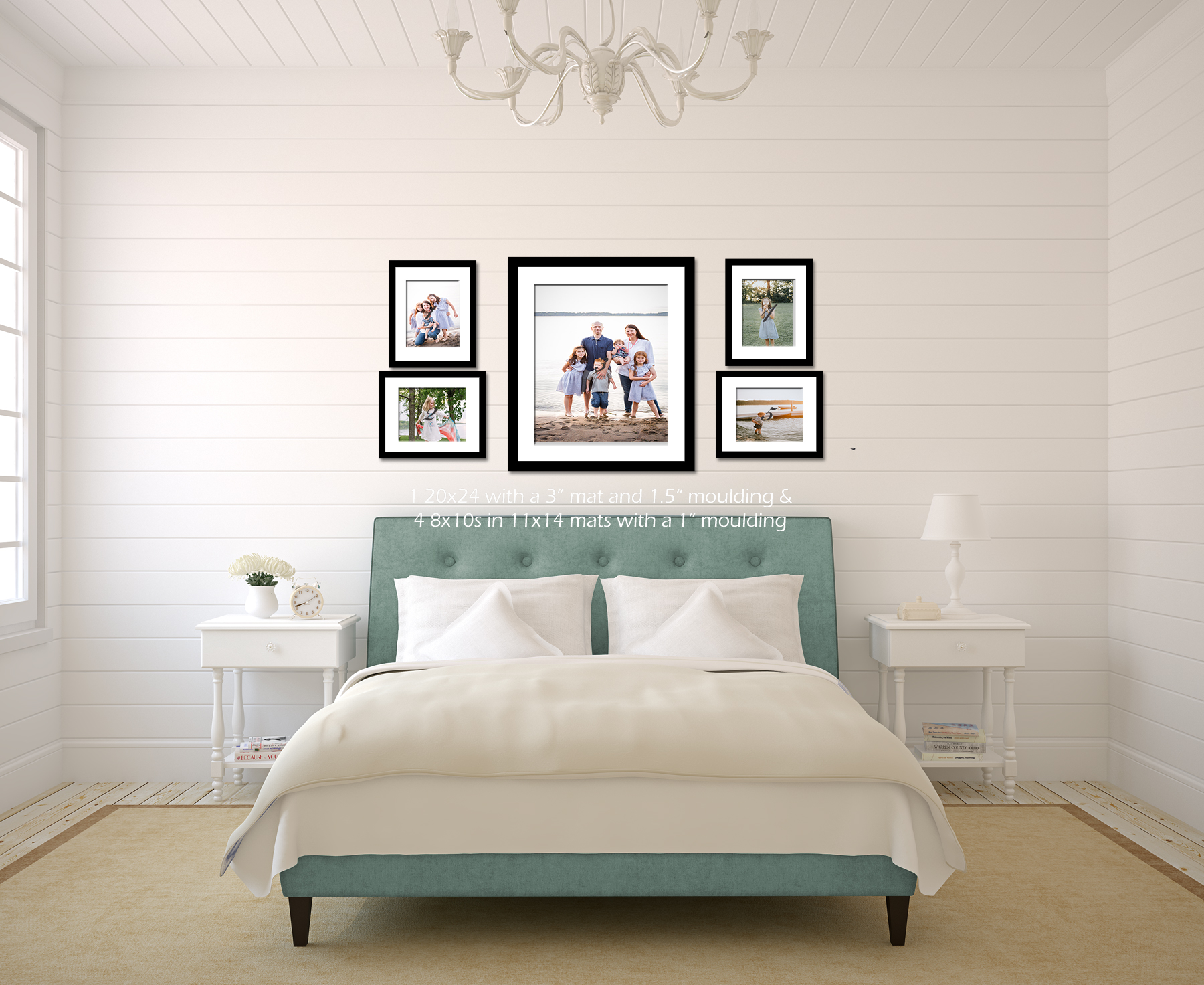 bedroom with green bed and framed family photos - Family Photography of Minneapolis