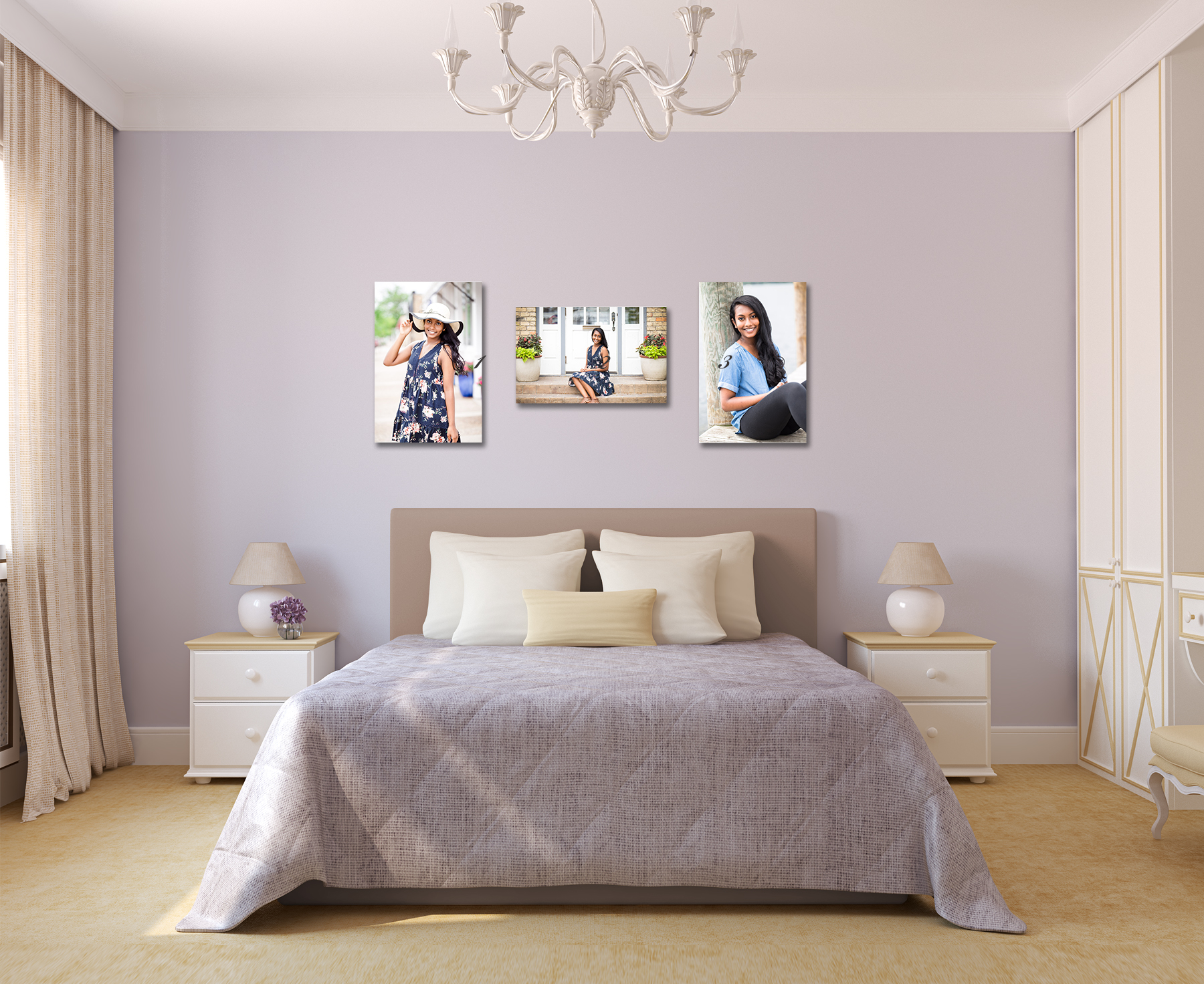 purple bedroom with senior portraits - Twin Cities Senior Photographer