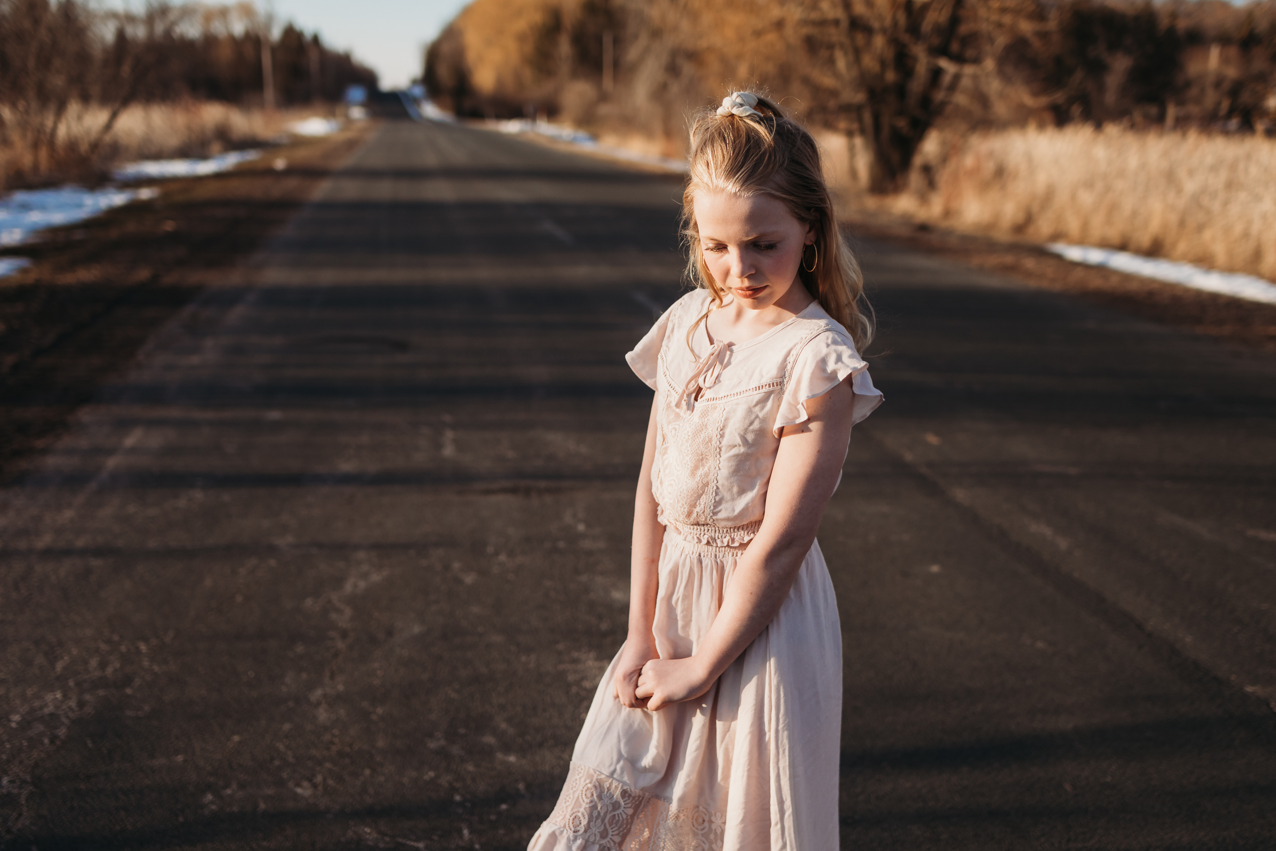 girl in pink dress folding hands | AMG Photography
