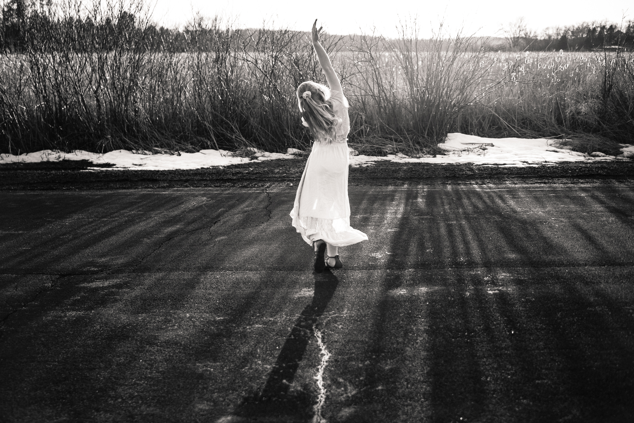 ballerina dancing in a rural field - AMG Photography