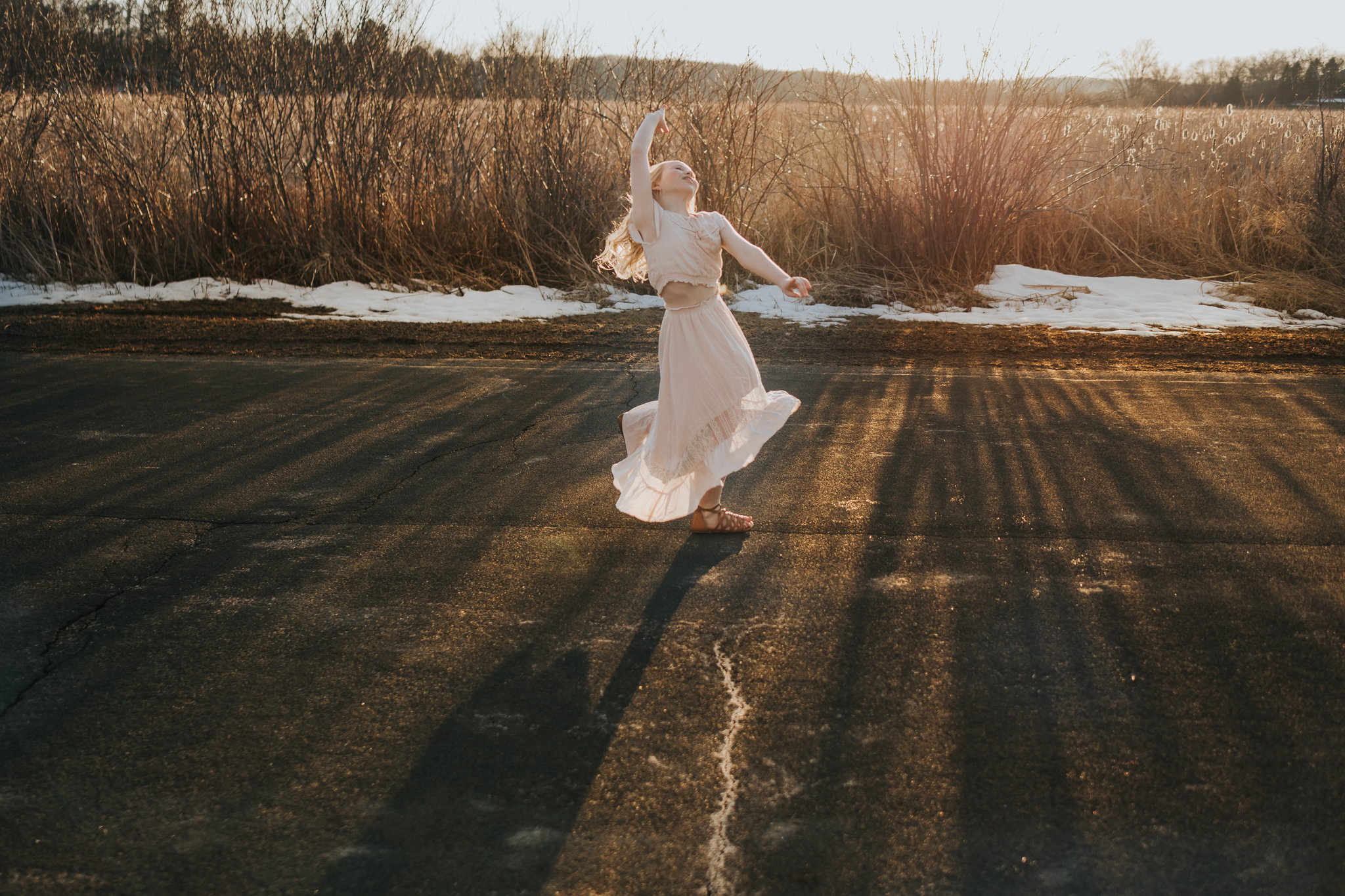beautiful dancer on a country road - Wayzata Family Photography