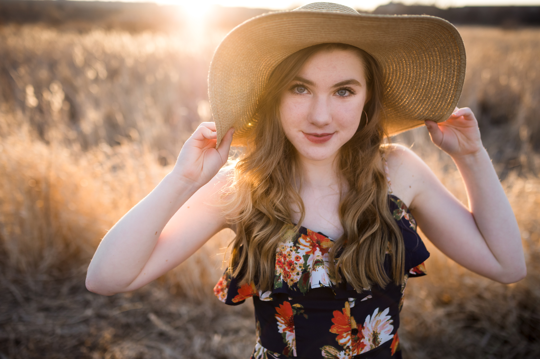 girl in sun hat smiling - Minneapolis Senior Photographer