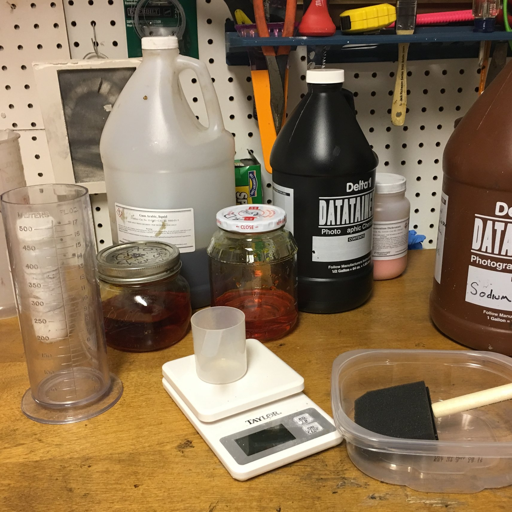 Some chemicals used in alternative photographic processes.