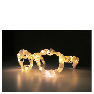 LIGHT , 2014  Where do you need it?  6″x6″x3″, mixed media: recycled eyeglass frames, paper, LED lights