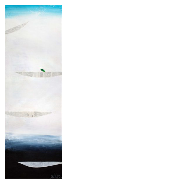 "ON A CLEAR DAY , 2015  Acrylics, handpainted textile, paper on canvas  8""x24""x1.5""  $500    ORIGINAL"