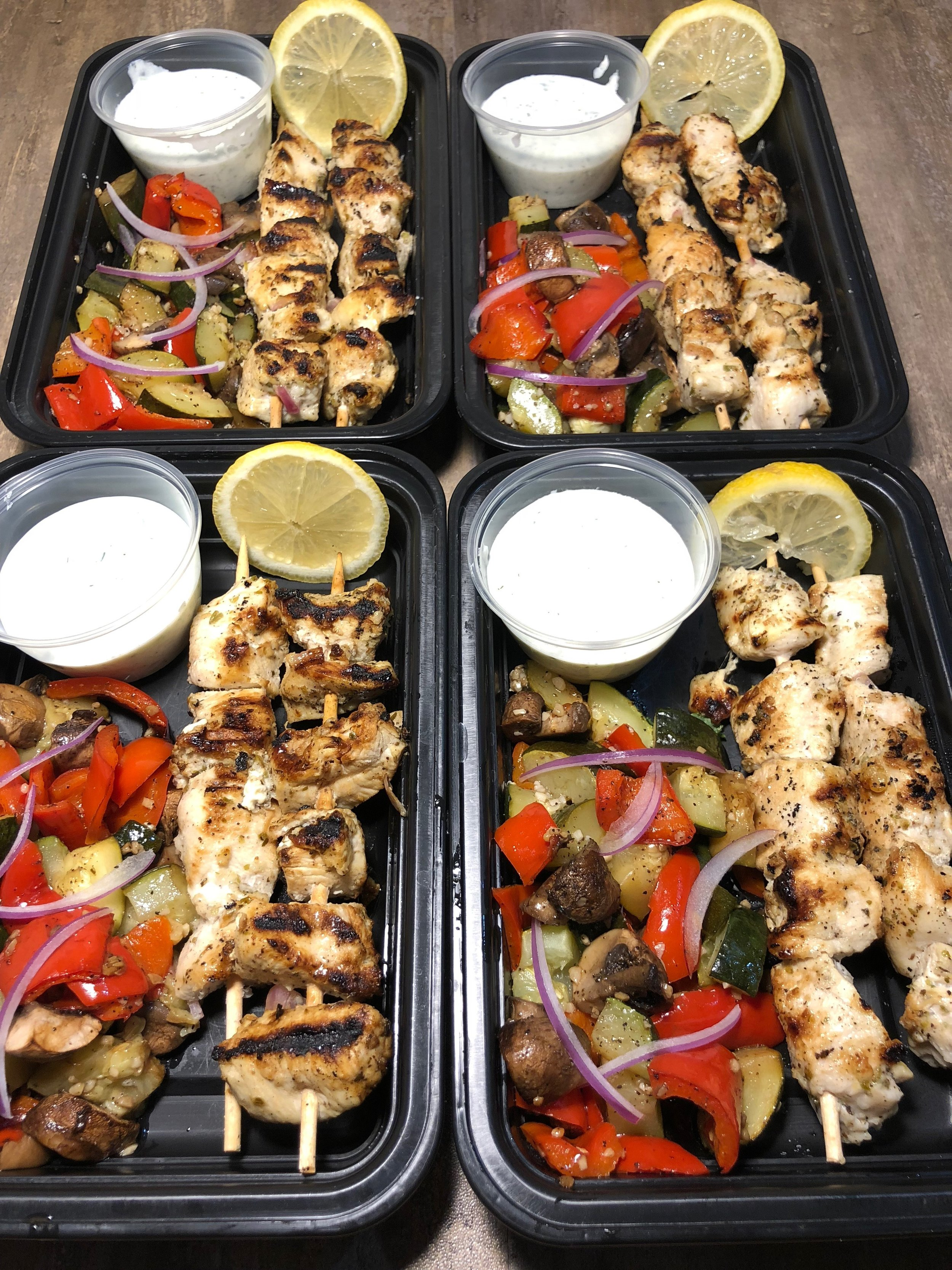 Chicken Souvlaki with Roasted Vegetables