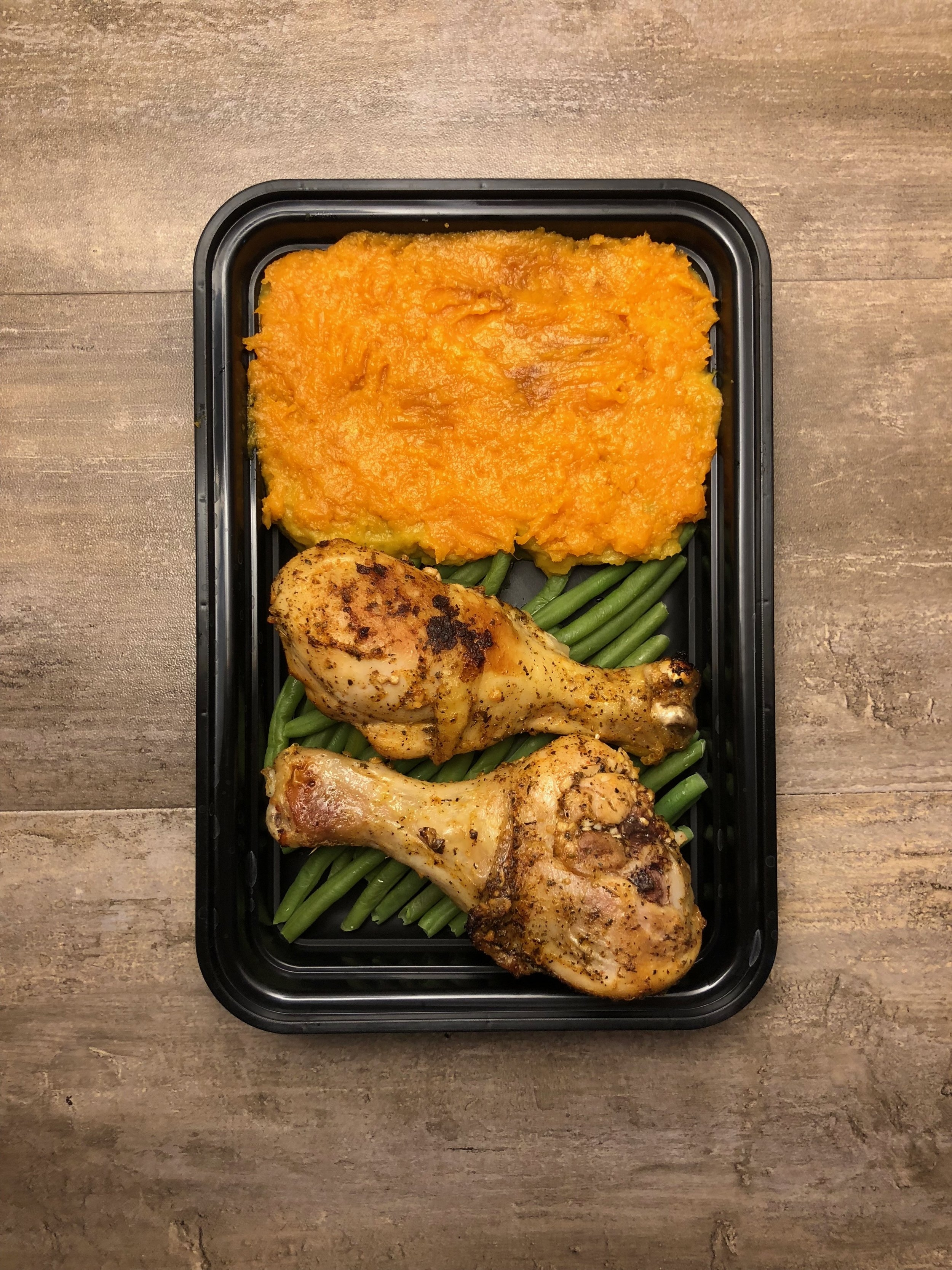 Roasted Chicken Legs with Mashed Sweet Potatoes Meal Prep