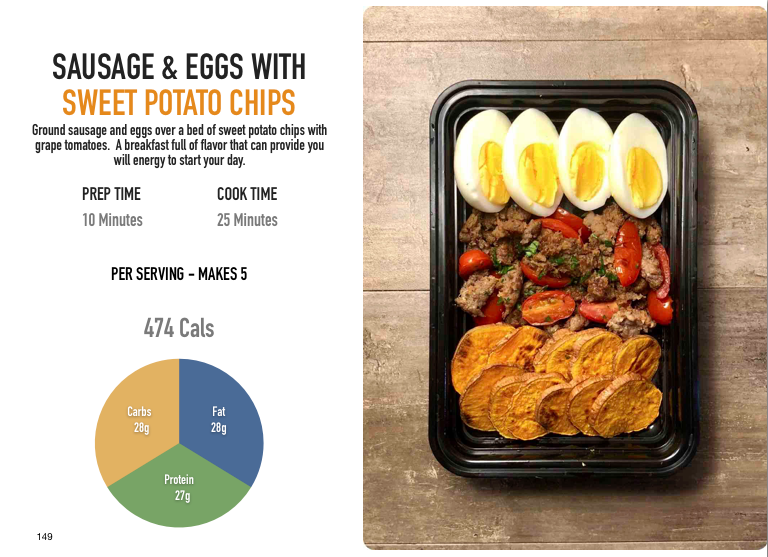 Sausage and Eggs with Sweet Potato Chips