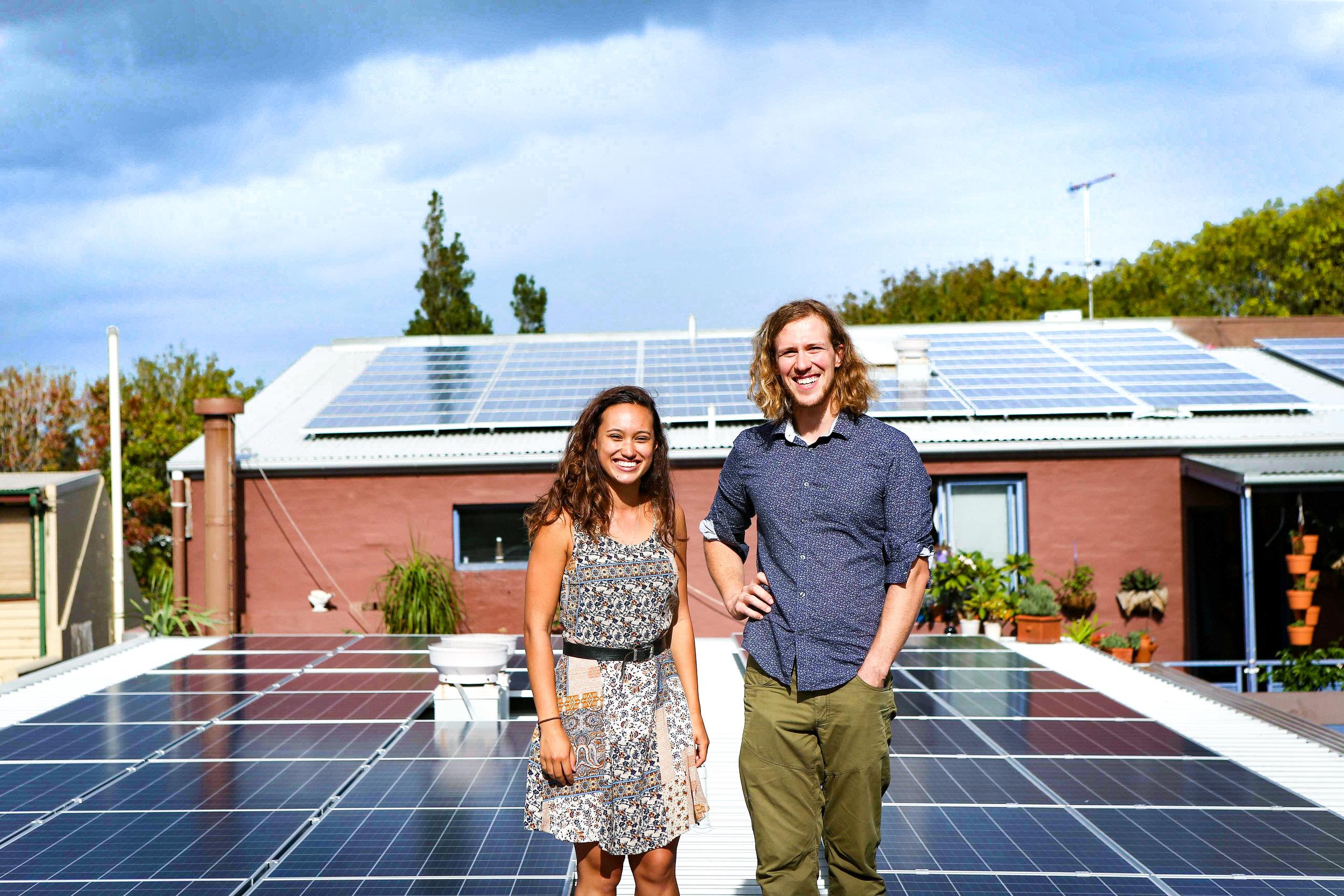 Dr Bjorn Sturmberg and Stucco President Sarah King amongst Stucco's solar panels.   Photo: Katherine Griffiths, City of Sydney