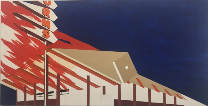 Enfant gâté Ed Ruscha's  Norm's , La Cienega, on Fire (1964) on display at The Broad.