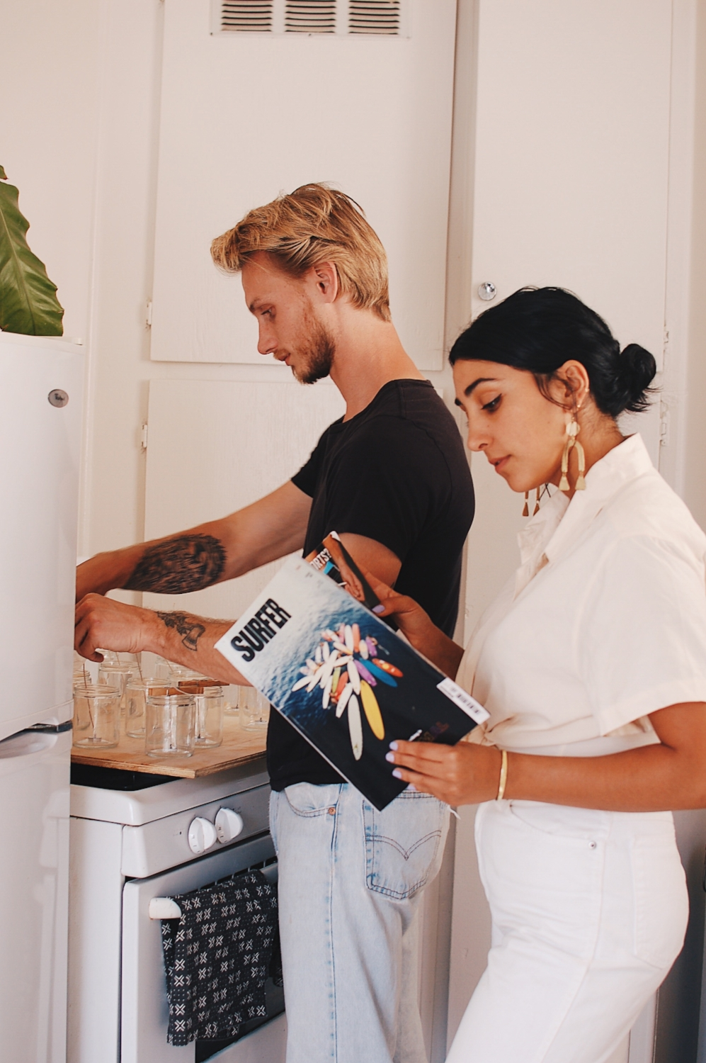 Jared Brainerd and Jasmine Bouzaglou, founders of Jade and Juniper Goods, in their Culver City kitchen.