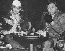 Thompson (left) with Oscar Zeta Acosta, his attorney and a fellow novelist.