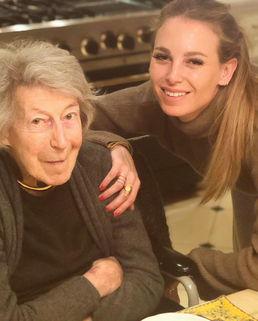 Eating with my Grandma in December, in her kitchen in New York.