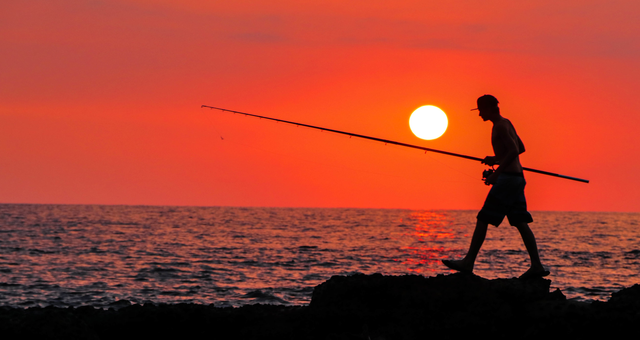 Sunset Fisherman - Big Island, HI