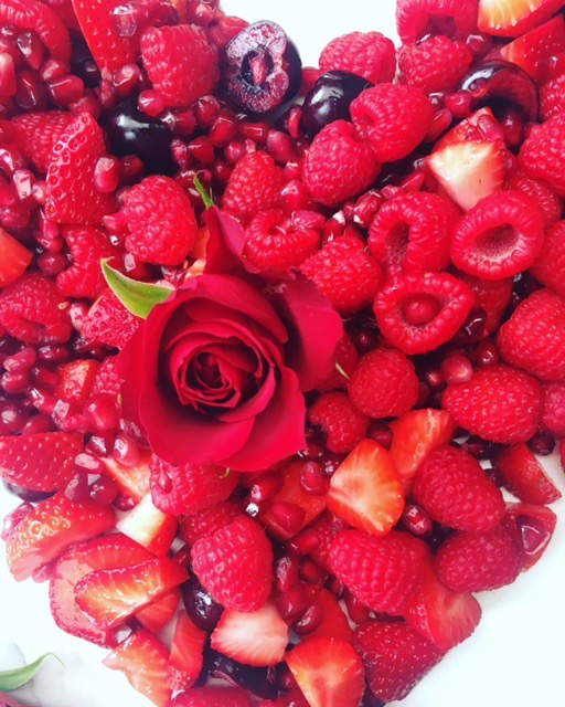 Cherries, strawberries, raspberries and pomegranate seeds make for a vibrant, red and super healthy fruit salad. A perfect combo for a Valentine's Day breakfast in bed... ❤
