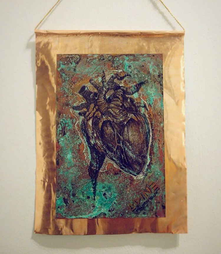 Heart Collaboration on Copper -Sold Piece from Show at Arlo Hotel to benefit Puerto Rico
