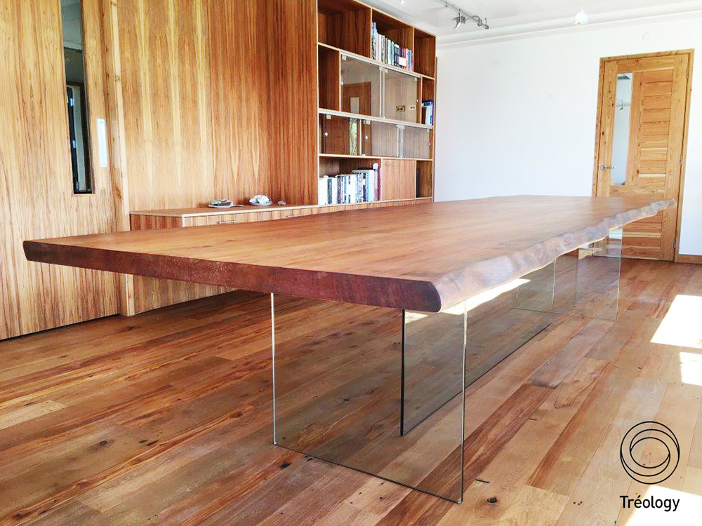 Waenga Table    - River rescued totara slab,       toughened glass base