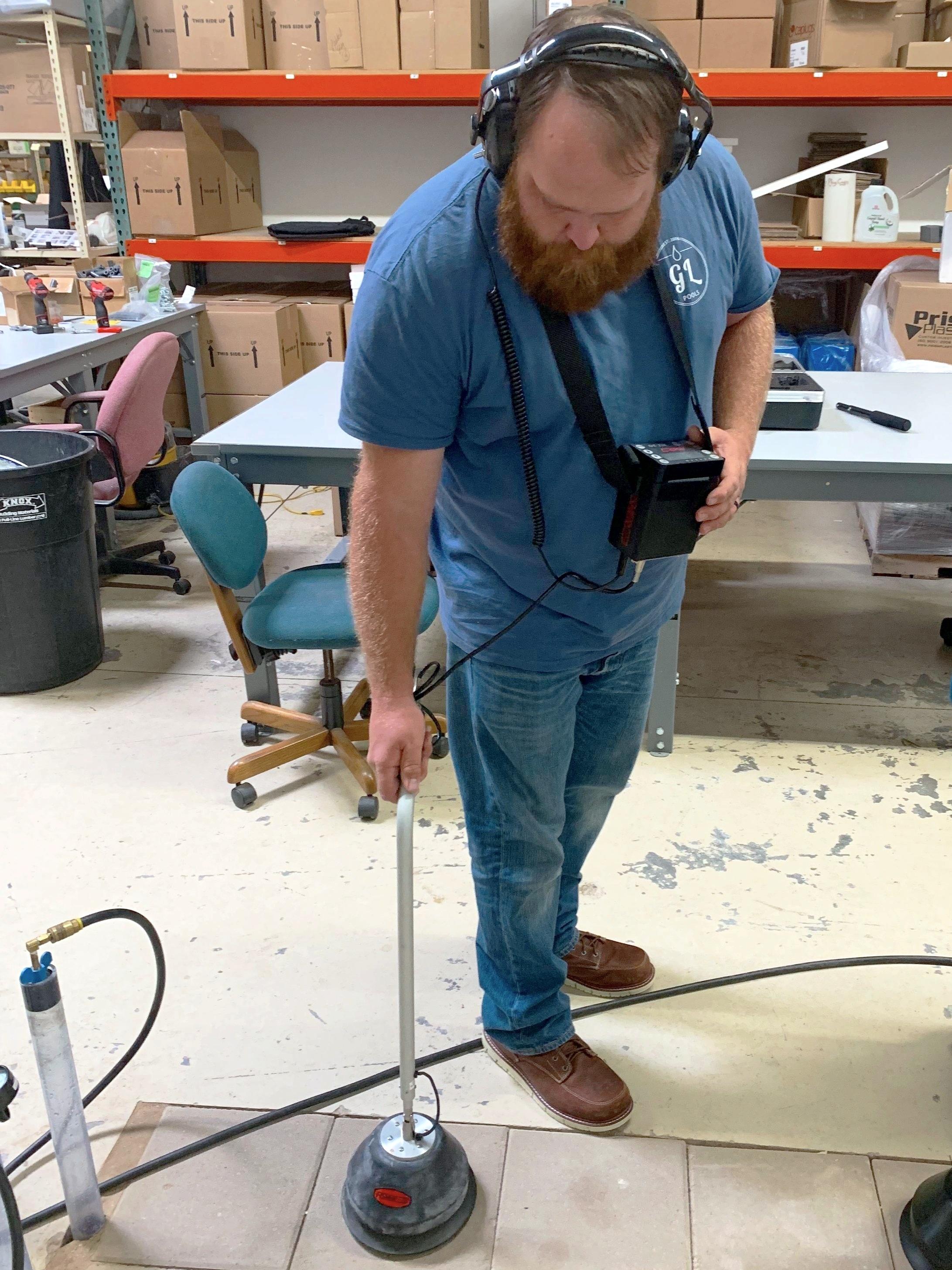 Brock, our repair manager, honing his leak detection skills.
