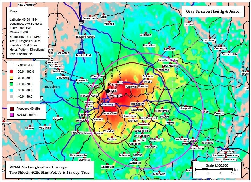 WZUM FM metro contours for 101.1 FM - Click to Enlarge