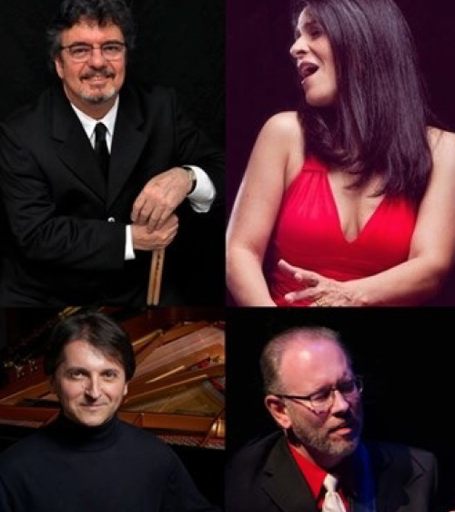 clockwise from upper left, percussionist Duduka da Fonseca, vocalist Maucha Adnet, MCG Jazz executive producer and guitarist Marty Ashby, and pianist Tamir Hendelman
