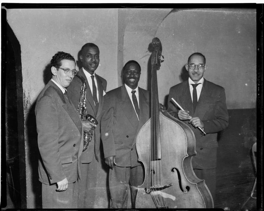 "Band with George ""Duke"" Spaulding, Leroy Brown with saxophone, ""Bass"" McMahon with bass, and Robert ""Bobby"" Anderson holding drum sticks - Charles ""Teenie"" Harris - CMOA.org"