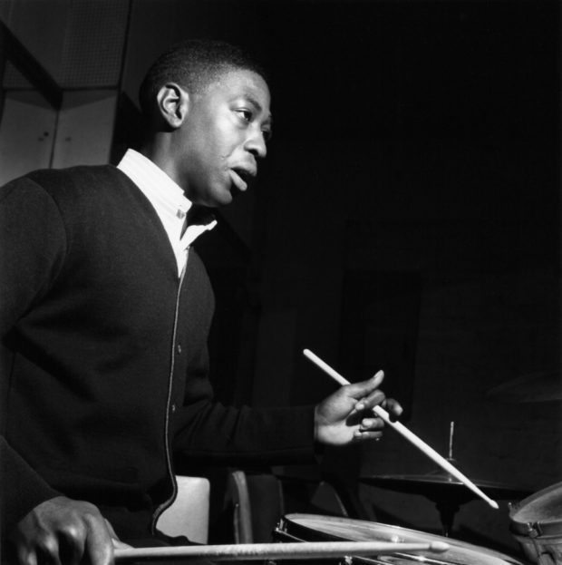 Roger Humphries at Rudy Van Gelder's Englewood Cliffs, New Jersey, studio during Horace Silver's  Song for My Father  session, October 26, 1964. Photo by Francis Wolff and courtesy of Blue Note Records.