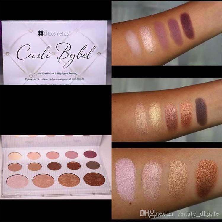 BH cosmetics eyeshadow palette eye shadow makeup palette Kyshadow matte pressed powder Carli Bybel & Highlighter Sealed 1 sets 14 colors (1).jpg