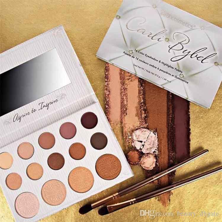 BH cosmetics eyeshadow palette eye shadow makeup palette Kyshadow matte pressed powder Carli Bybel & Highlighter Sealed 1 sets 14 colors.jpg