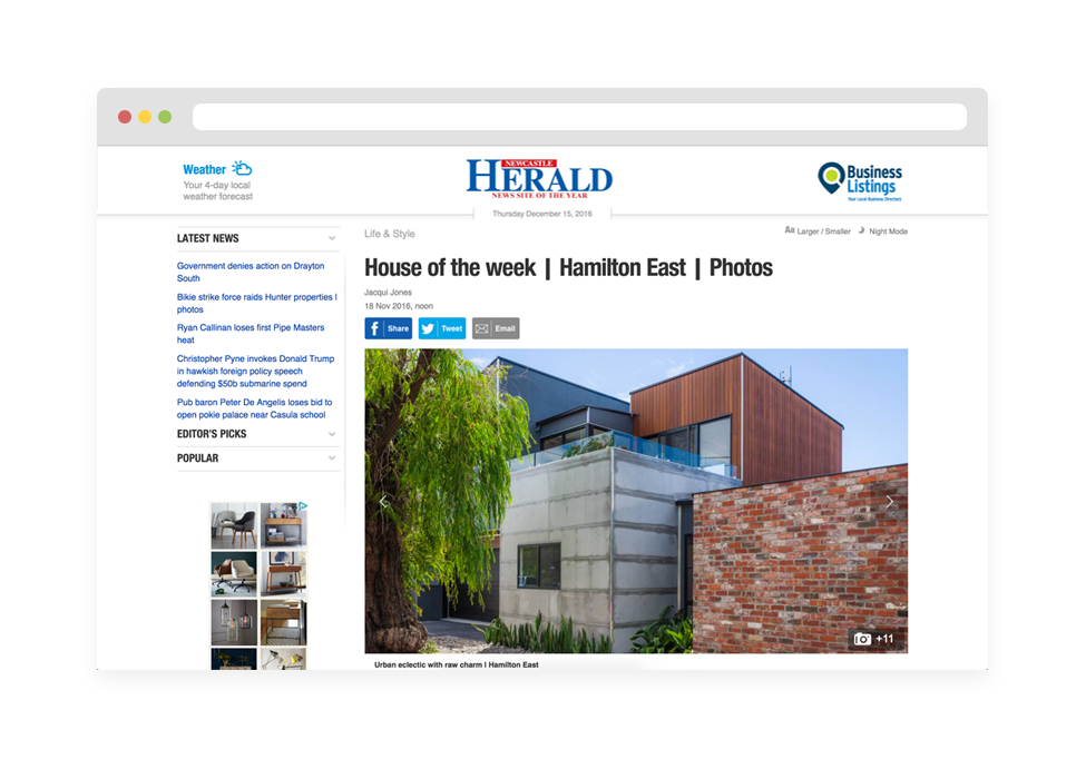 NEWCASTLE HERALD- HOUSE OF THE WEEK      Read more