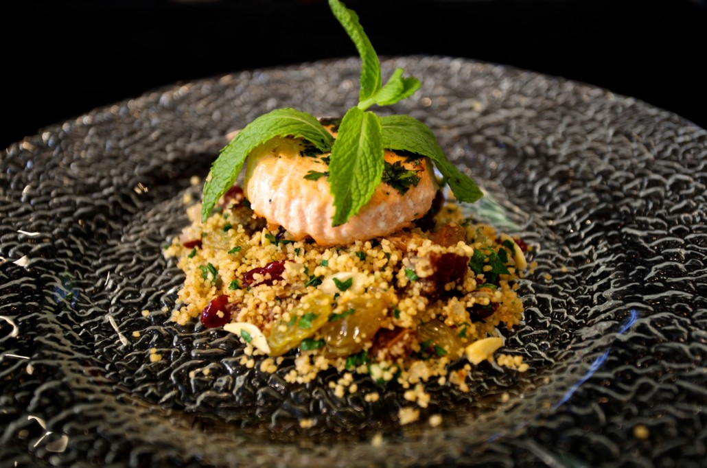 Sautéed Salmon with Couscous – Dates, Golden Raisins, Cranberries & Almonds