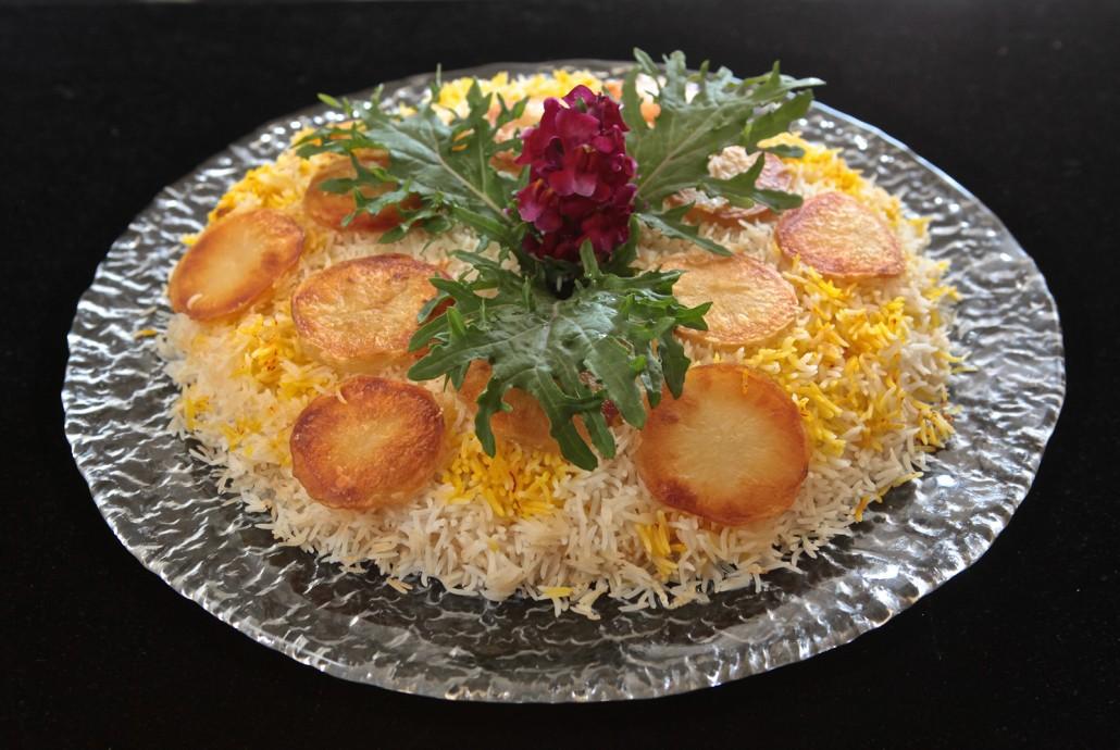 5 Easy Step - Fluffy Flakey Downside Up Saffron-Basmati Rice with Crispy Potatoes
