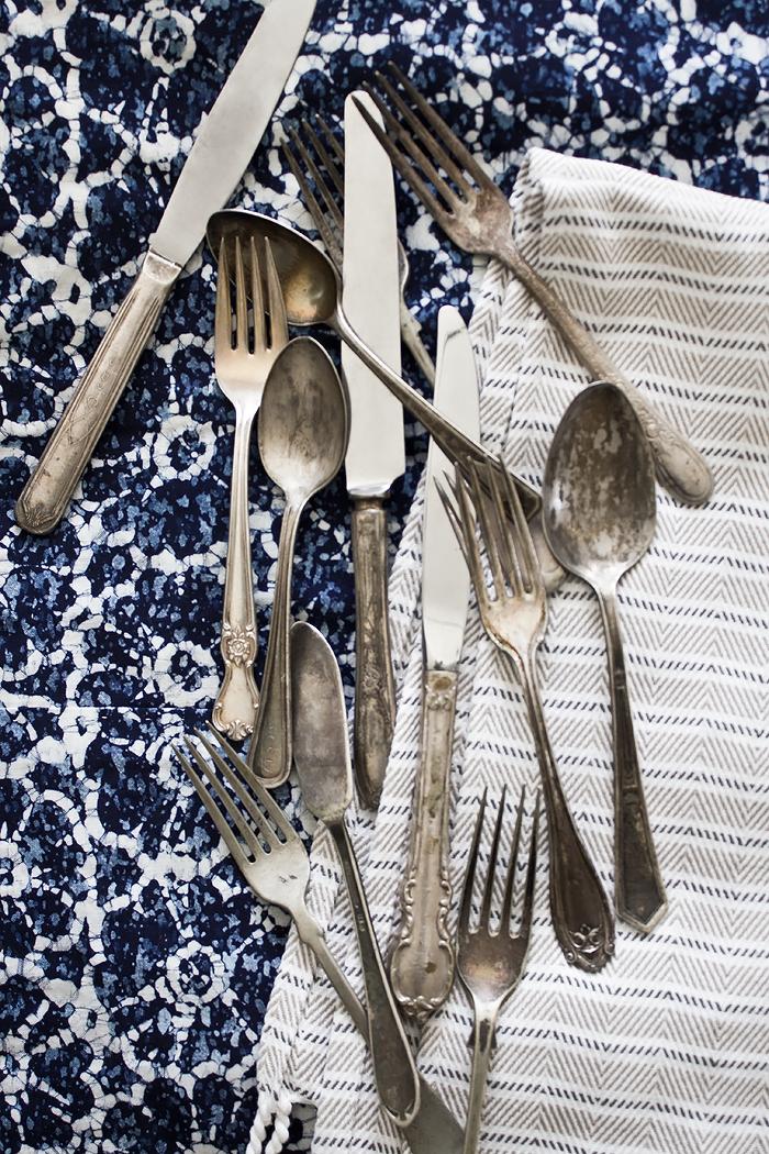 vintage silverware & linens